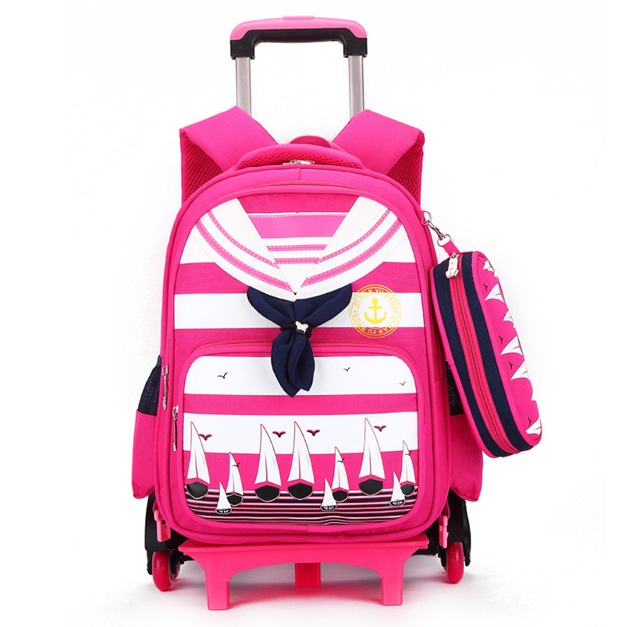 ФОТО High quality kids trolley school bag 6 wheels shoulder backpack sailor bags for girls wheeled children backpacks boy schoolbag