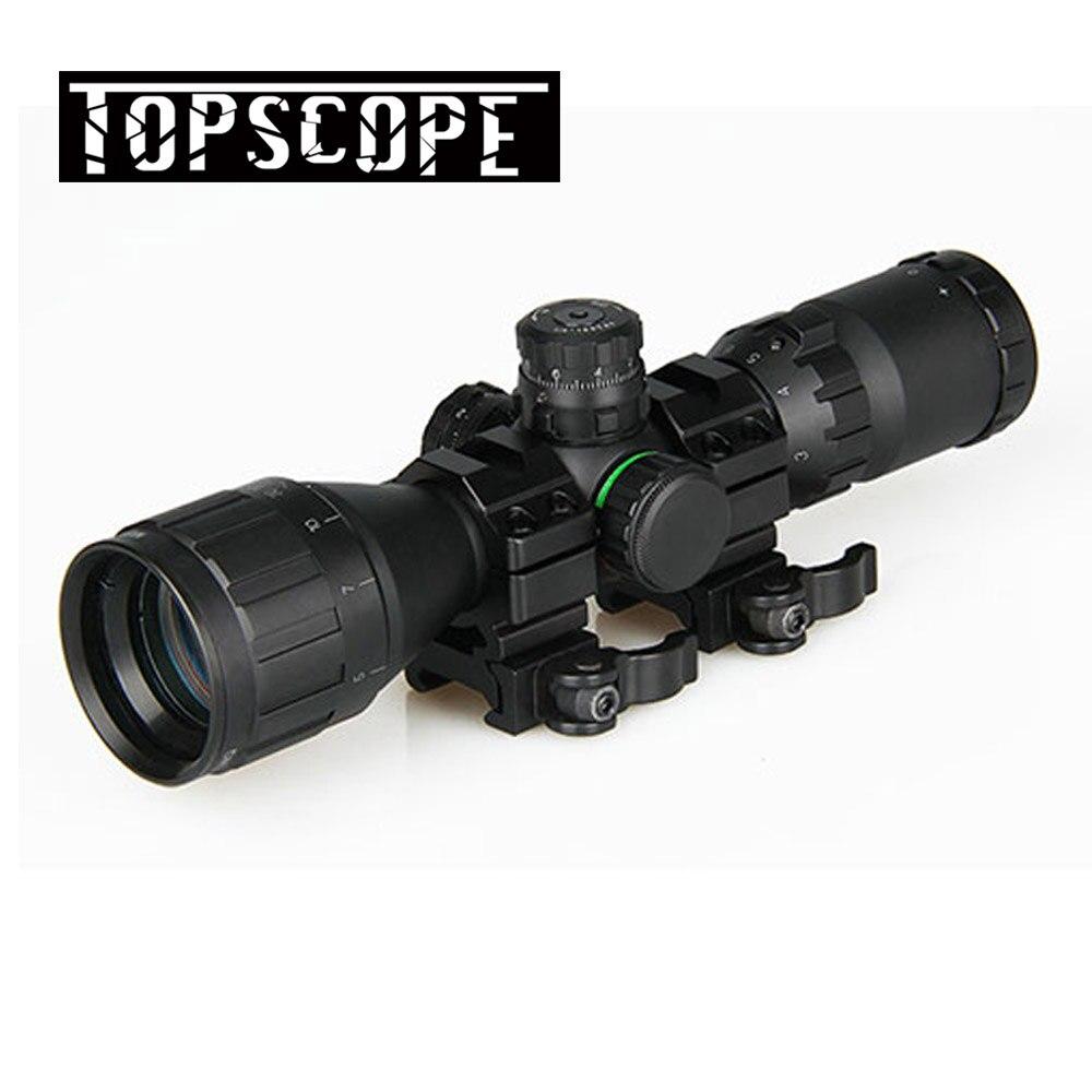 Caça óptica 3-9x32 ao 1 polegada tubo mil-dot riflescope compacto com sombra de sol e qd anéis rifle tático escopo