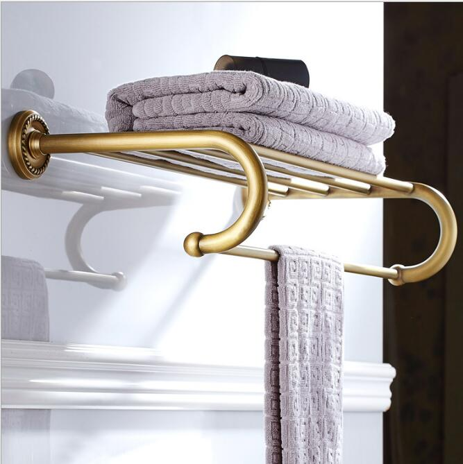 Antique Bronze Fixed Bath Towel Holder Wall Mounted Towel Rack 60 cm Towel Shelf Bathroom Accessories Luxury Brass Towel Rail whole brass blackend antique ceramic bath towel rack bathroom towel shelf bathroom towel holder antique black double towel shelf