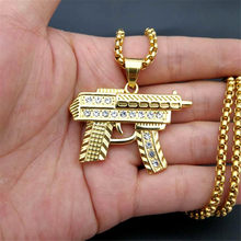 Hip Hop Stainless Steel Iced Out Pave Cubic Zirconia UZI Gun Pendant With Chains Gold Color Hip Hop Necklace Jewelry For Gifts(China)