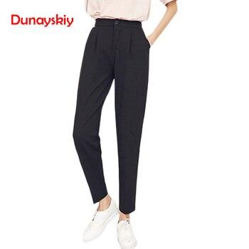 Dunayskiy חם מכירות סתיו נשים מכנסיים אלסטיות גבוהה מותניים הרמון מכנסיים מקרית נשים אופנה Slim מוצק צבע מלא אורך מכנסיים