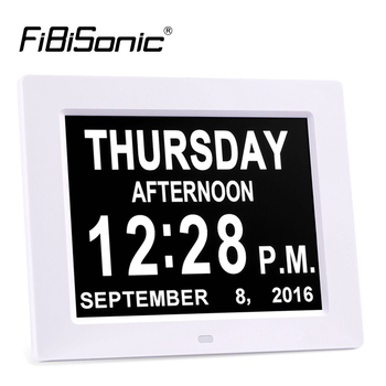 Extra Large 8inch Non-Abbreviated Day&Month Digital Calendar Alarm Clocks with 5 Alarm Impaired Vision and Seniors Table Clocks