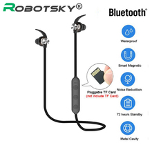 XT22 Wireless Bluetooth 4.2 Earphone Magnetic Attraction Headset 3D Stereo Bass Waterproof Sports Headphone with Mic TF Card