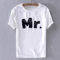 2019 Summer casual men's linen white t-shirt breathable comfortable short-sleeved t shirt tops men fashion camisa chemise