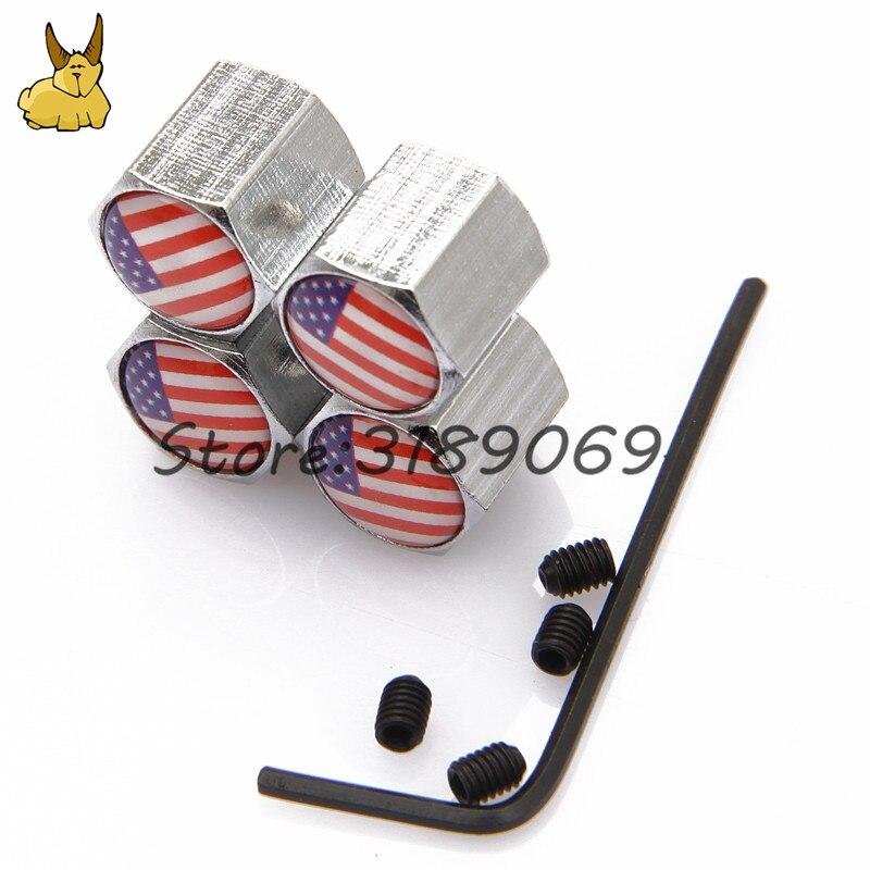Для Американский Флаг Логотип Ford Chevrolet Silverado Toyota Camry Универсальный колеса автомобиля Шины Клапаны шин стволовых воздуха Caps герметичной крыш...