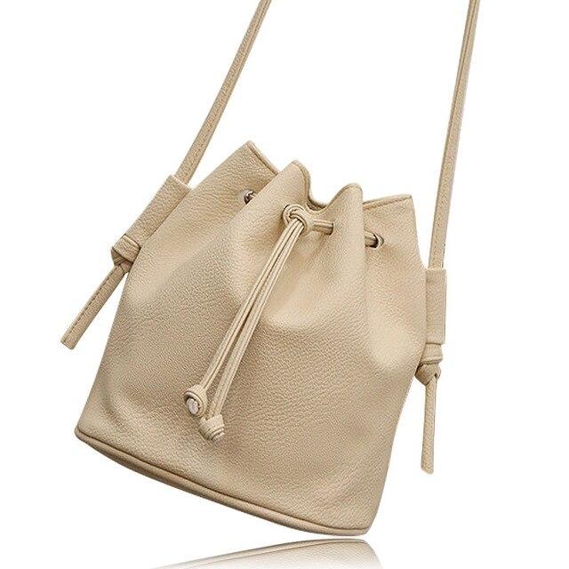 Ladies Cross body bags Small Mini Soft Leather Bucket Drawstring Women handbags Messenger Crossbody Bag Sling Shoulder Purse