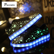 2016 PACENTO Led Shoes for Adults Casual Unisex Shoes Fashion Led Luminous Light Up USB Charging Colorful Glowing Zapatos Par