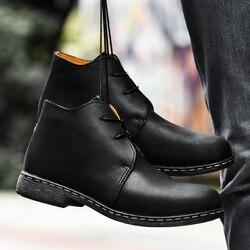 Big size 38-47 botki dla mężczyzn Business Chukka męskie buty za kostkę obuwie Outdoor skórzane męskie zimowe buty męskie w5