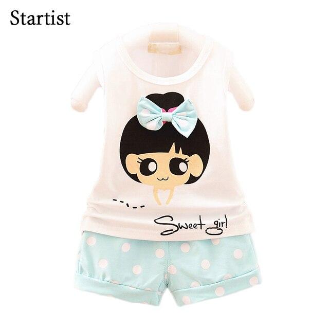 addab2cda0f Startist Girls Clothes Summer 2017 Cute Printed Bow Shirts + Dot Pants Kids  Clothes Girls Sets Casual Toddler Girls Clothing