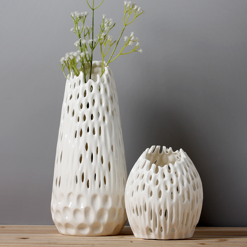 Modern white vases for wedding centerpieces handmade