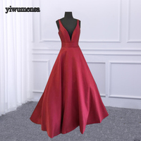 2018 Cheap Sexy Deep Red V neck Prom Dresses sleeveless Floor Length Formal Plus Size Evening Gowns Custom Made Prom dress 2018