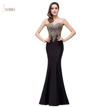 купить Elegant 2019 Black Mermaid Long Evening Dress Scoop Neck Sleeveless Gold Applique Evening Gown robe de soiree по цене 2604.6 рублей