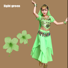 New 4Set Kids Children Belly Dance Costumes Girls Indian Dancing Bollywood Stage Performance Dancewear Clothing