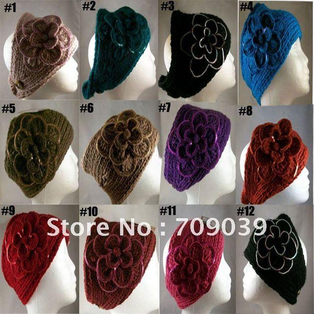 Fedex Free Shipping 2011 Newest hot sale Handmade knit headdress Flower headwrap FLOWER EAR WARMER HEAD BAND NECK WRAP SEQUINS
