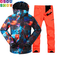 GSOU SNOW Brand Ski Suit Men Skiing Jacket Snowboarding Pants Waterproof Mountain Skiing Suits Winter Male Outdoor Sport Clothes