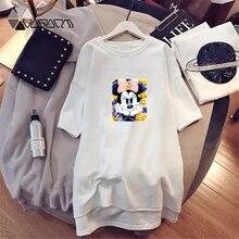 2019 Summer Women Dresses Minnie Mickey Mouse Cartoon Print Casual Loose White Black Mini Women Clothes Big Size Dress Harajuku цены