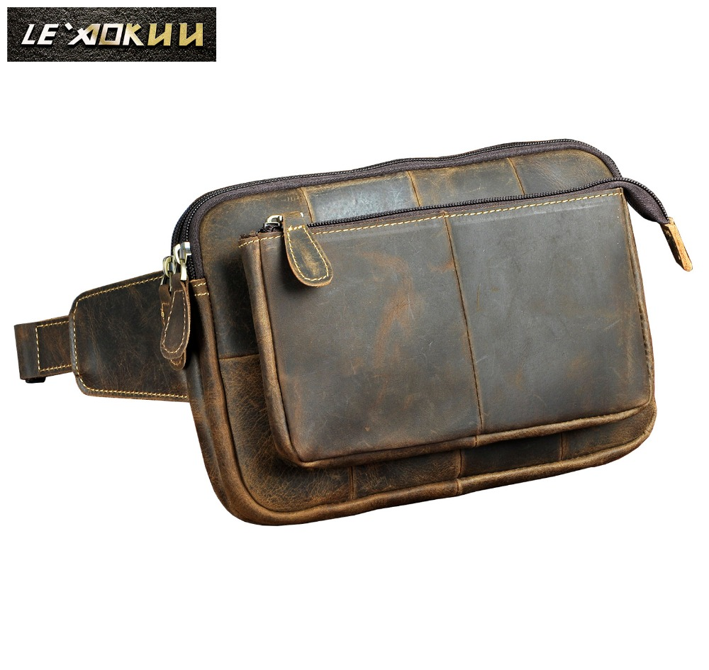 """New Quality Leather men Casual Fashion Travel Waist Belt Bag Chest Pack Sling Bag Design 8"""" Phone Tablets Case Pouch Male 2100-in Waist Packs from Luggage & Bags    1"""
