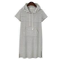 Женские толстовки с капюшоном размера плюс 4XL 5XL, летнее платье с коротким рукавом в черно-белую полоску с зеброй, платья для работы, офиса, vestidos