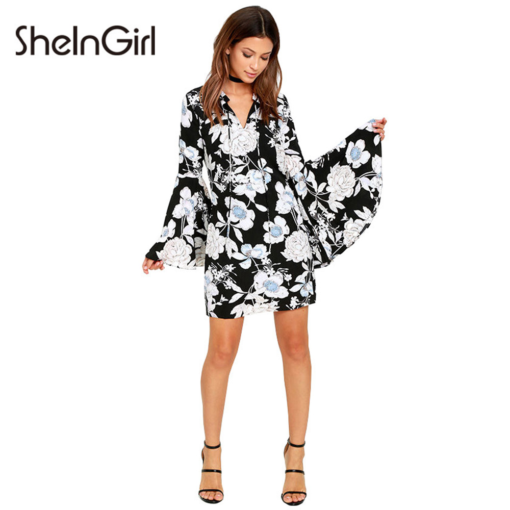 SheInGirl 2017 Spring Fashion Floral Print Dress Women Casual Flare Sleeve Mini Vestidos Comfort Slim V-neck Drawstring Dress(China (Mainland))