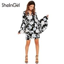 Sheingirl Цветочный принт платье Для женщин осень 2017 г. модные Повседневное Flare рукавом Мини Vestidos комфорта v-образным вырезом шнурок платье