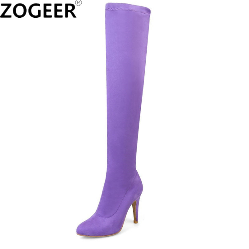 Plus size 48 High Heel Stretch Fabric Over The Knee Boots Women Pointed Toe Spring Candy Color Thigh High Boots Shoes Woman hongyi women boots stretch over knee spring autumn boot thigh high boots shoes woman big size pointed toe high heels botas mujer