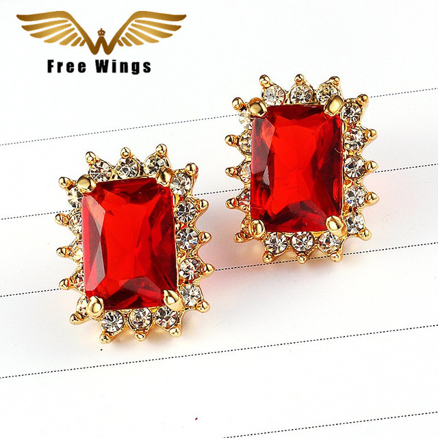 Red Square Stud Earrings Gold For Women Indian Jewelry Studs Famous Brand Wedding Love Geometric