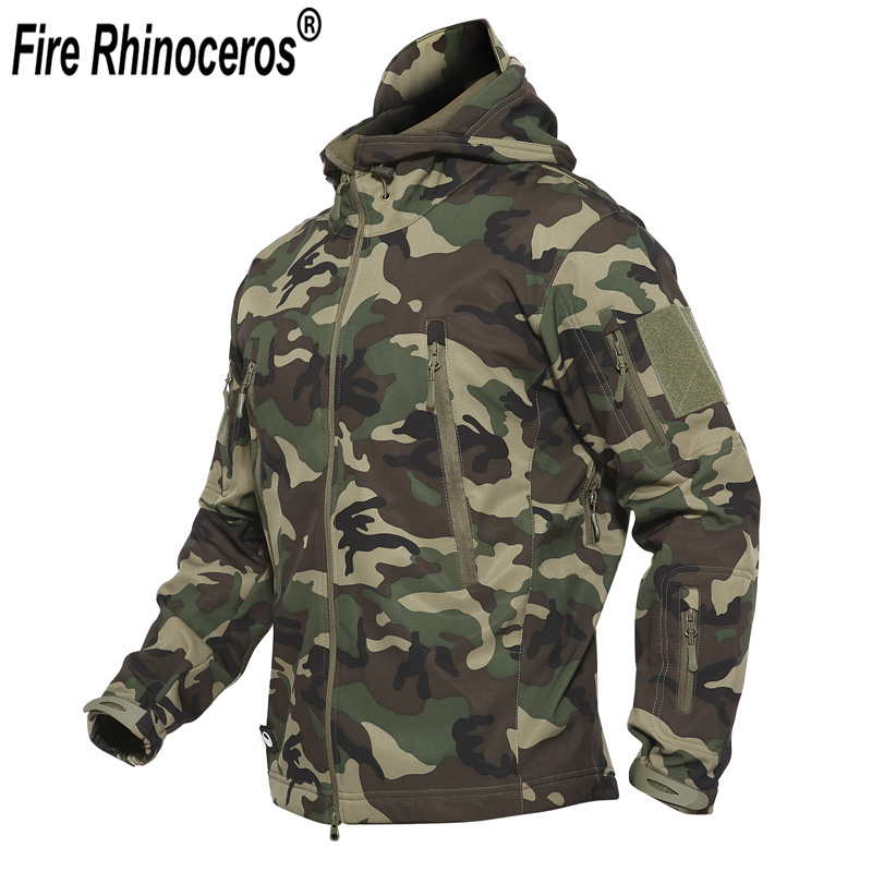 Dropshipping Outdoor Tactical Military Softshell Fleece Jacket Men s Waterproof Hunting and Hiking Jacket Warm Hooded