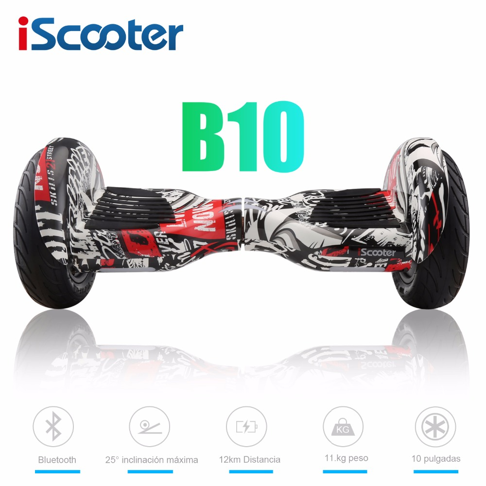 iScooter 10 inch Electric font b Hoverboards b font with Bluetooth Speaker Carry Bag Self Balancing