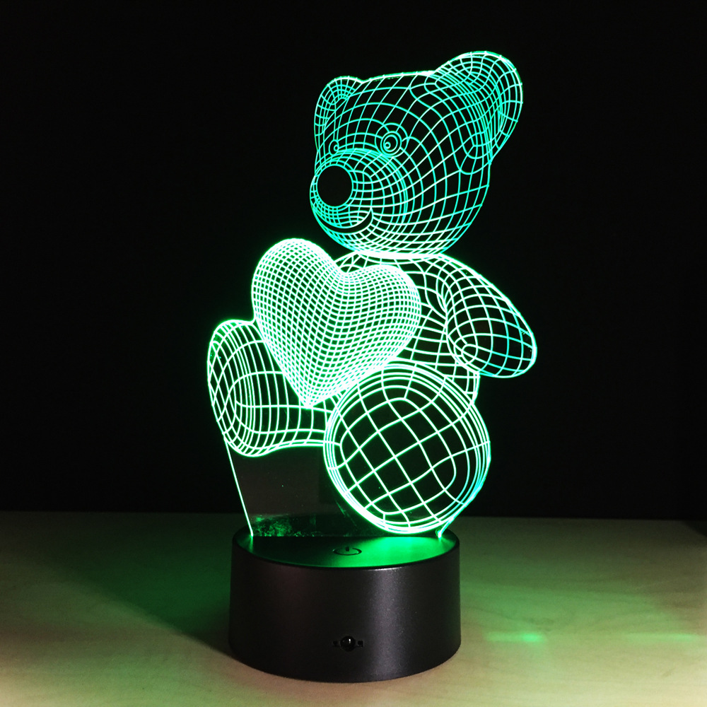 Cartoon Cute Heart Bear Shape Acrylic LED Lamp 3D Baby Night Light Sleeping Lighting For Children Night Light Xmas birthday gift