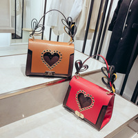 PACGOTH 2018 New Panelled Hollow Out Heart Messenger PU Leather Shoulder Bag Korean Style Fashion Wide