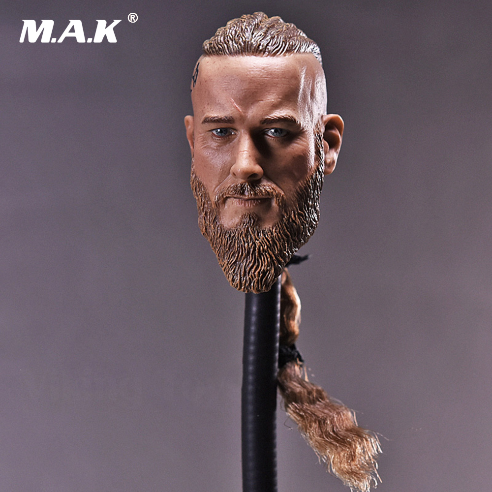 1/6 Scale Mens Head Sculpt Viking Travis Fimmel With Braid For 12 Inches Male Muscular Bodies Figures Dolls