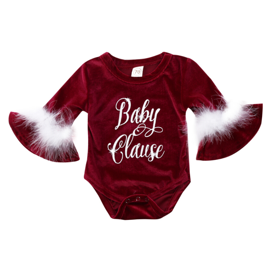 New Fashion Baby Girls Velvet Santa Claus Bodysuit Jumpsuit Long Flare Sleeves Playsuit Cute Letter Outfits Costume 0-24M stripe pattern off shoulder long sleeves waist tie playsuit with tassel detail page 6
