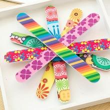 5 Pcs/set Colorful Floral Print Nail Files Double Sided Nail Sanding Files Polish Buffer Block Manicure Tips Gel Nail Art Tool