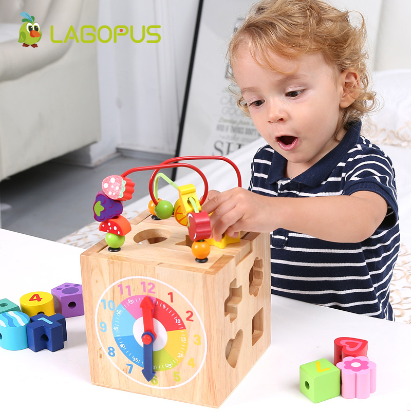 Baby Kids Children Wooden Toy Wooden Educational Bead Maze Classic Toys