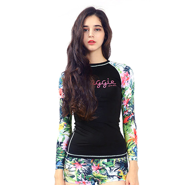 2018 New Floral Print Swimsuit Women Long Sleeve Swimwear Surfing Bathing Beach Suits For Diving UV Swimming Two Pieces Suit