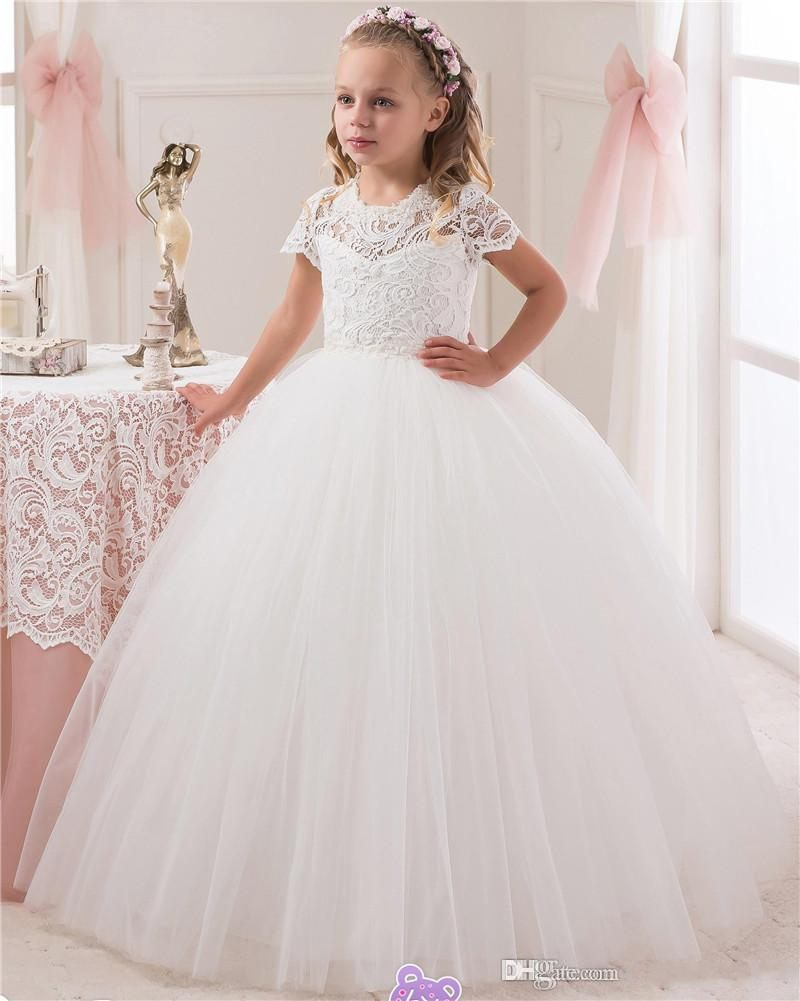 Communion Ball Gown   Flower     Girls     Dresses   2017 Tulle Little Kids   Dresses   Formal Lace Christmas Pageant Gowns With Short Sleeves