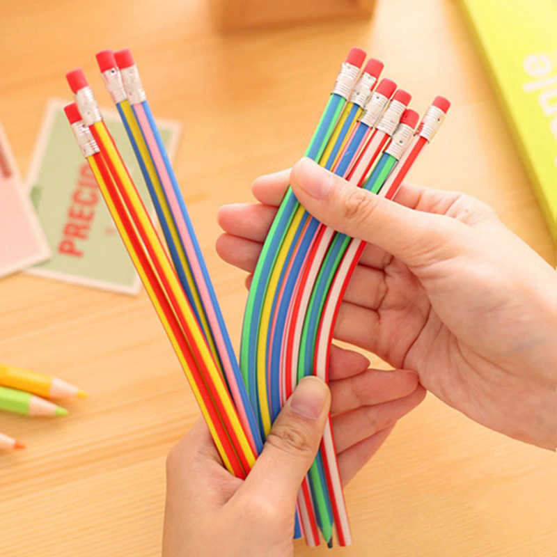 5pc/lot Colorful Flexible Magic Bendy Soft Pencil with Eraser Korea Cute Stationery Kids Student School Office Use Children Gift