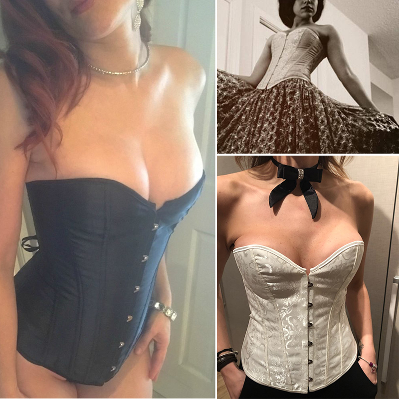 Black/White Sexy Boned Waist Trainer Brocade Corsets Bustiers Embroidery Lace Up Corselet Gothic Plus Size S-6XL Body Shaper 9
