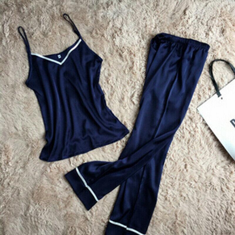 Women Lady Silk Satin   Pajamas     Set   Summer Hot Female Soild Color Pyjama Sleepwear Nightwear Loungewear Homewear