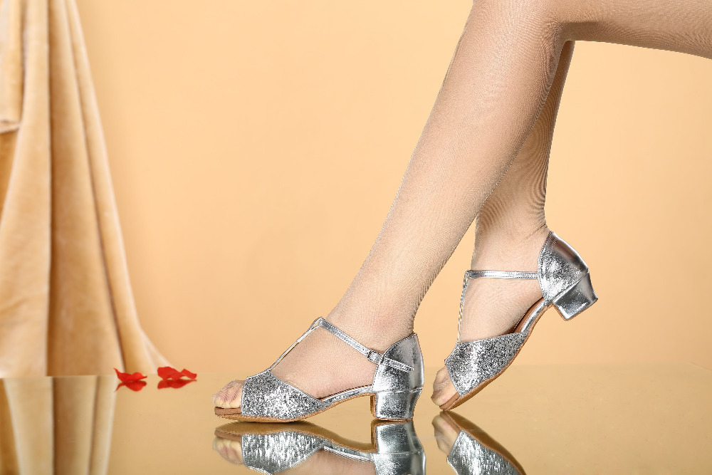 Silver color glitters low heel latin ballroom dance shoes for children kids  women ladies-in Dance shoes from Sports   Entertainment on Aliexpress.com  ... 07fe5bb7db3d