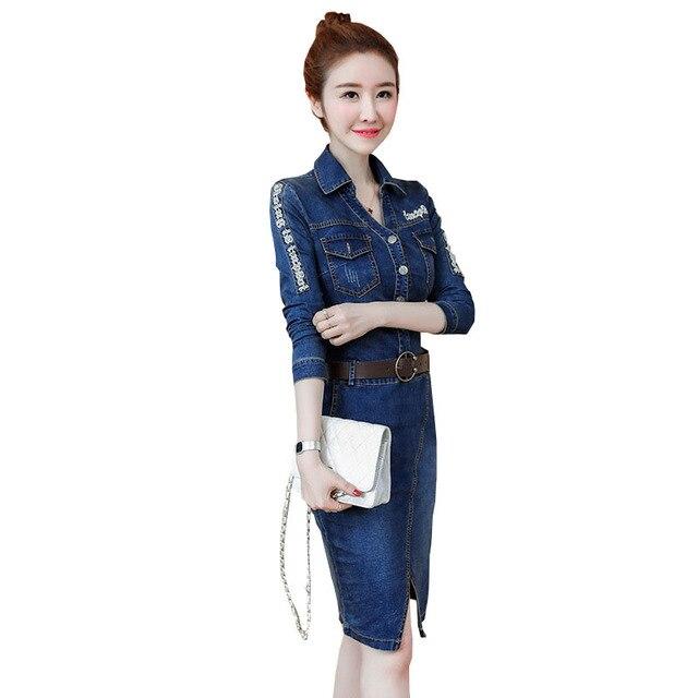 YZ Long Sleeve Dress 2019 Spring Autumn Denim Dress Women Knee-Length Dress Belt Waist Button Sexy Woman Jeans Dresses Vestidos