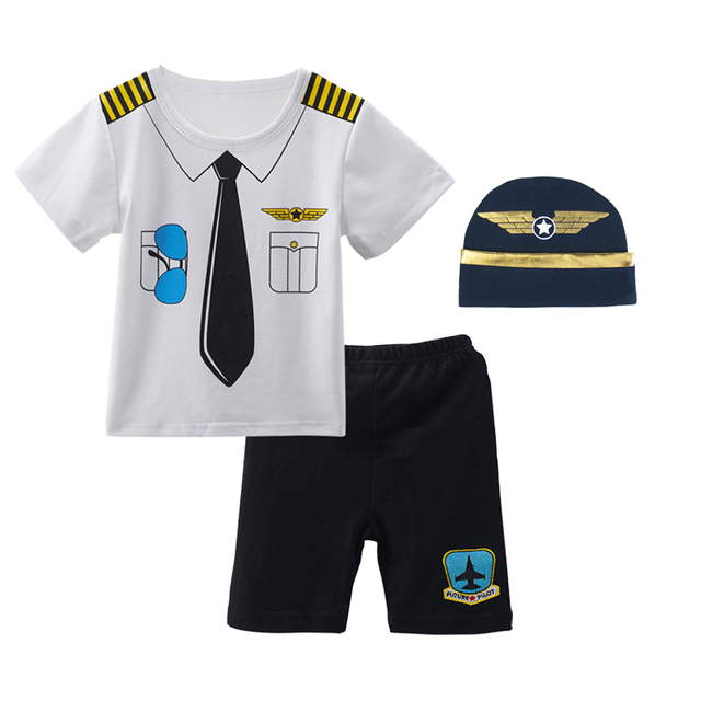 87705f1deae Baby Boys Pilot Costume Clothing Set with Hat Infant Aviator T-Shirt +  Pants + Hat Newborn Cosplay Ropa Bebe Costume For Babies