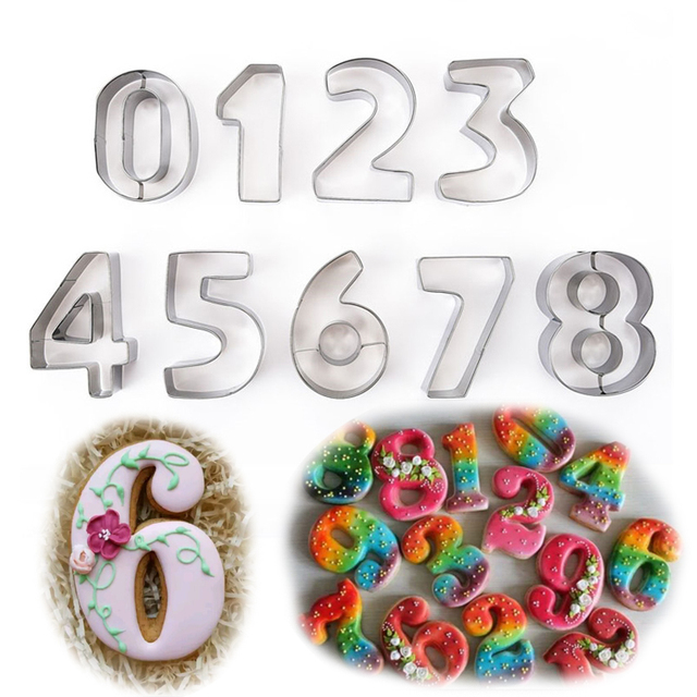 US $8 2 25% OFF 9PCS/set Numbers 0 9 Arabic Numerals Cookies Gingerbread  Mousse Cake Molds Cutters Pastry Dessert Cutter DIY Moulds LIXYMO-in Cake