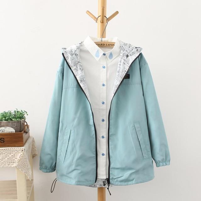 NEW 2019 Spring Fashion women Bomber women Jacket Pocket Zipper hooded two side wear Cartoon print outwear loose plus size