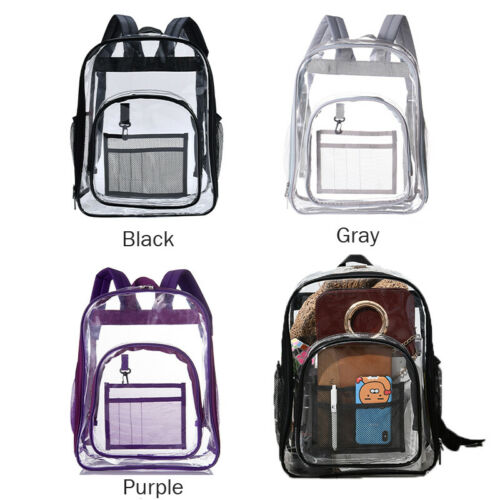 Large Heavy Duty Clear Backpack Transparent Bag School Travel Security Bag