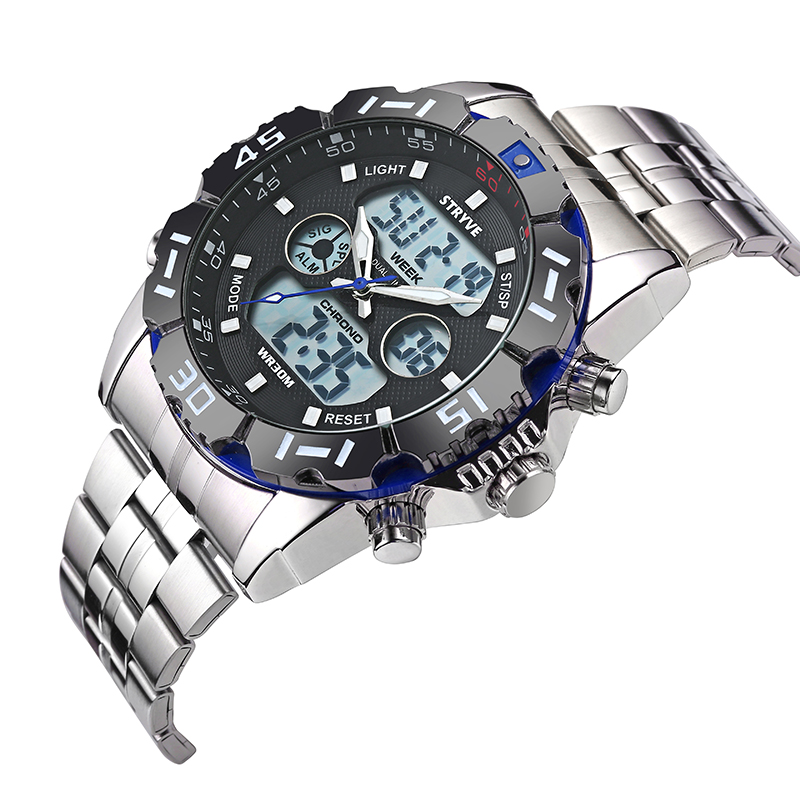Image 5 - Stryve 8011 Relojes Brand Waterproof Military Sport Watches Men Stainless Steel Digital Quartz Dual Display Watch montre hommeDigital Watches   -