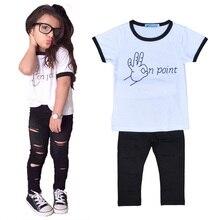 girls clothing set kids girls outfits girls summer clothing sets finger letter t shirt+black pants 2016 summer kids clothing set