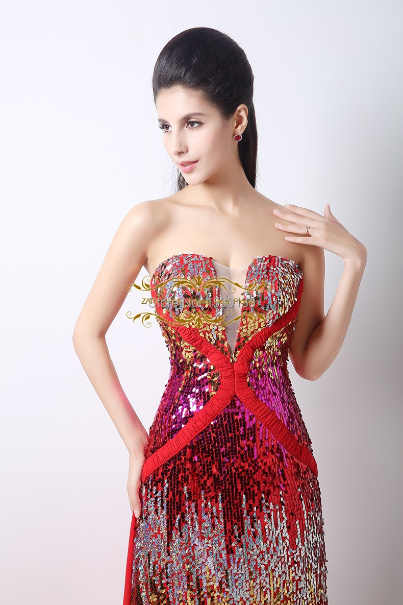Customized special full sequins lace chiffon evening dresses ...