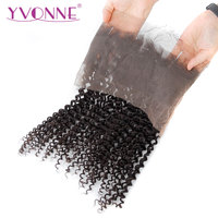 YVONNE Brazilian Kinky Curly 360 Lace Frontal Pre Plucked with Baby Hair 100% Virgin Lace Frontal Human Hair