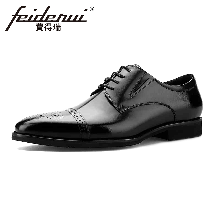 Vintage British Handmade Genuine Leather Men's Oxfords Formal Dress Round Toe Man Derby Flats Male Wedding Brogue Shoes BQL63 new arrival british man wedding dress shoes fashion genuine leather male oxfords round toe formal luxury brand men s flats rf40